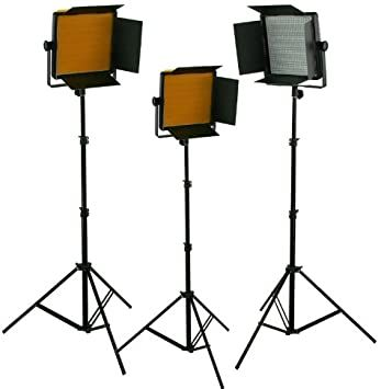 3 x Dimmable 600 LED Video Light Panel Professional Video Light Panel Studio Video Light Lighting LED Light Panel with Stand Combo