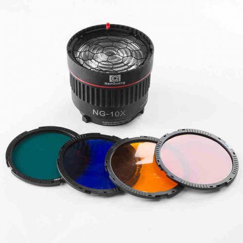 Nanguang NG-10X Studio Light Focus Lens Bowen Mount for Flash& Led Light with 4 Color Filter